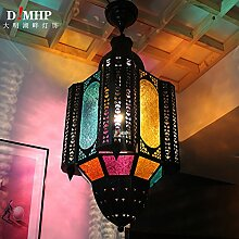 Industrial Vintage Anhänger Licht diffus/retro Tiffany-lampen Korridor gangways Marokko Bar Lights arabischen Kronleuchter Deckenleuchten Pendelleuchte E27 Sockel Südostasien, Bronze + Farbe Glas