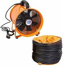 Industrie Extraktor Tragbarer Ventilator Luft Axial Metall Gebläse Kommerzieller Auspuff Werkstatt Ventilation Lüfter Mit 5 meter Rohr - 25cm mit Röhre