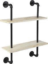 Industrie-Regal mit 2 Holzböden und schwarzen