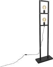 Industrie Stehlampe 2 Lampen schwarz - Simple Cage