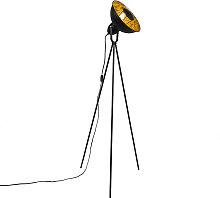 Industrie-Stehlampe Stativ schwarz mit gold -