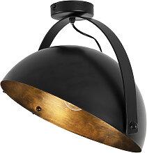 Industriedeckenleuchte schwarz mit Goldkipp - Magna