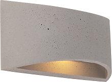Industrielle längliche Wandleuchte grau beton -