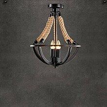 Industrielle Retro Lampe Hanfseil Deckenleuchte 3 flammig Antik Deckenlampe Kronleuchter Decke Beleuchtung Leuchte Wohnzimmerlampe Esszimmerlampe Schlafzimmerlampe Hemisphärisch Eisen Rahmen