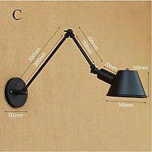 Industrielle Retro- Wandlampe mit langem Arm,