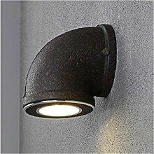 Industrielle Schwarze Wasserpfeife Metall LED Wandleuchte Lampe Beleuchtung