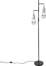 Industrielle Stehlampe 2-Licht Beton mit schwarz -