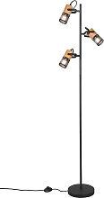 Industrielle Stehlampe schwarz mit Holz 3-Licht -