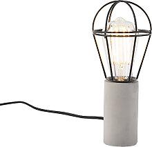 Industrielle Tischlampe Beton mit schwarz - Edison