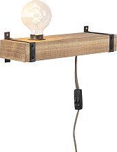 Industrielle Wandleuchte Holz USB - Reena