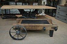 Industrieller Couchtisch/Wagon aus Metall & Holz,