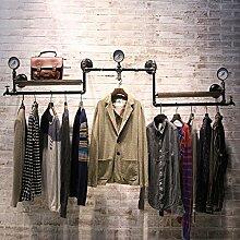 Industrielles Wandregal Kleiderbügel Schmiedeeisen Pipe Loft Bekleidung Shop Kleiderbügel Display Stand Personality Retro Wasserpfeife an der Wand hängende hängende hängende Display Regal Wandregale ( Farbe : Schwarz )
