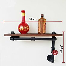 Industrielles Wandregal Retro Regal Plumbing Rack Küche Bracket Iron Pipe Plank LOFT Wanddekoration Wandregale ( größe : 50*36cm )
