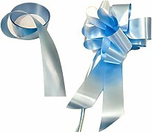 """INERRA Hochzeit Auto Dekoration Set - 2er Pack - für 2 Hochzeit Cars - 2 X Large 7"""" Schleifen (FERTIGER Schleife Nicht Flach Verpackt) and 2 x 7 Meter von Band - Farbe abgestimmt - Babyblau"""
