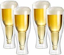infactory Bier-Glas: Doppelwandiges Bierglas 0,33