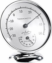 infactory Sauna Thermometer: Analoges Thermometer mit Hygrometer, 10 cm (Thermometer mit Feuchtigkeitsmesser)