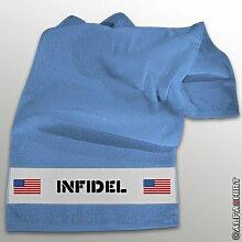 INFIDEL Ungläubige ISAF Irak Anti Terror Kämpfer - Handtuch Badetuch (hellblau 100x50cm) # 11243