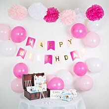 infinimo Geburtstagsdeko Rosa/Pink Weiß ✮ Happy