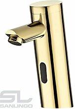 Infrarot IR Wasserhahn Armatur Automatik Waschbecken Gold Kalt und Warmwasser