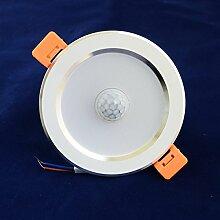 Infrarot-LED-Sensor-Lampe Deckenlampe Energieeinsparung Embedded-Panel-Lichter Lampe 220V Eingangsspannung,10cm5W