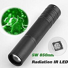Infrarot-Taschenlampe,HKFV 5W 850nm LED Infrarot