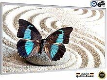 Infrarotheizung mit Digitalthermostat Elektroheizung Bildheizung mit Stecker für Steckdose - GS TÜV Süd zertifiziert - neuste Technik - doppelte Sicherung - 5 Jahre Garantie - Heizprinzip der Sonne (300 Watt, Schmetterling blau schwarz im Sand)