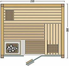 Infraworld Fortuna Sauna mit Glasfront 210 x 180 cm rechts ohne