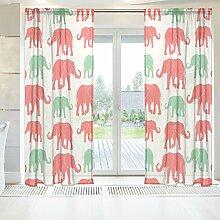 ingbags Elegante Voile Fenster lang Sheer Vorhang 2Felder Hand Drawn Silhouette Elefanten Print Tüll Polyester für Tür Fenster Zimmer Dekoration 139,7x 198,1cm, Set von 2, Polyester, mehrfarbig, 55 x 84 Inch