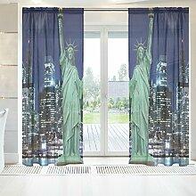 ingbags Elegante Voile Fenster lang Sheer Vorhang 2Felder Statue of Liberty New York City Print Tüll Polyester für Tür Fenster Zimmer Dekoration 139,7x 198,1cm, Set von 2, Polyester, mehrfarbig, 55 x 84 Inch