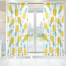 ingbags Elegante Voile Fenster Lange Sheer Vorhang 2Einsätze Ananas und Herzen Print Tüll Polyester für Tür Fenster Zimmer Dekoration 139,7x 198,1cm, Set von 2, Polyester, mehrfarbig, 55 x 78 Inch