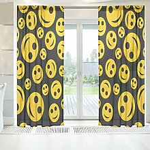 ingbags Elegante Voile Fenster Lange Sheer Vorhang 2Einsätze Emoji-weiß Hintergrund Print Tüll Polyester für Tür Fenster Zimmer Dekoration 139,7x 198,1cm, Set von 2, Polyester, mehrfarbig, 55 x 78 Inch