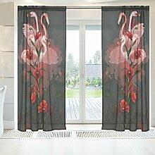 ingbags Elegante Voile Fenster Lange Sheer Vorhang 2Platten Flamingos und Mohn 3D Print Tüll Polyester für Tür Fenster Zimmer Dekoration 139,7x 198,1cm, Set von 2, Polyester, mehrfarbig, 55 x 84 Inch