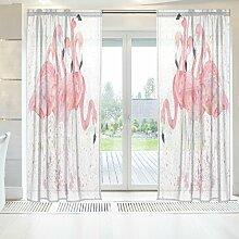 ingbags Elegante Voile Fenster Lange Sheer Vorhang 2Platten Watercolor Flamingos Print Tüll Polyester für Tür Fenster Zimmer Dekoration 139,7x 198,1cm, Set von 2, Polyester, mehrfarbig, 55 x 84 Inch