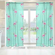 ingbags Elegante Voile Fenster Lange Sheer Vorhang 2Platten Tropic Pink Flamingos Print Tüll Polyester für Tür Fenster Zimmer Dekoration 139,7x 198,1cm, Set von 2, Polyester, mehrfarbig, 55 x 78 Inch