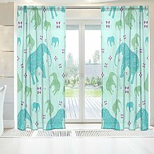 ingbags Elegante Voile Fenster Lange Sheer Vorhang 2Platten Elefant Print Tüll Polyester für Tür Fenster Zimmer Dekoration 139,7x 198,1cm, Set von 2, Polyester, mehrfarbig, 55 x 84 Inch