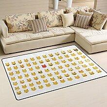 ingbags Super Soft modernes Set von Katze Emoticon Emoji, ein Wohnzimmer Teppiche Teppich Schlafzimmer Teppich für Kinder Play massiv Home Decorator Boden Teppich und Teppiche 152,4x 99,1cm