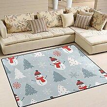 INGBAGS Teppich mit Schneemann und Schneeflocke,