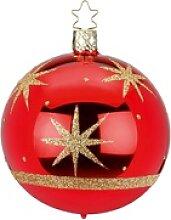 INGE-GLAS® Weihnachtsbaumkugel Starry Sky rot (1