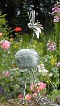 Ingeborg stehend Steinvogel bzw. Edelstahlvogel aus Edelstahl und Stein ein schöner Gartenvogel die besondere Art der Gartendeko Größe S ca. 20 cm