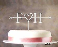 "Initial-Name Kuchendeckel Personalized Spiegel Cake Topper Color Option verfügbar 5 """"-7"""" Zoll brei"
