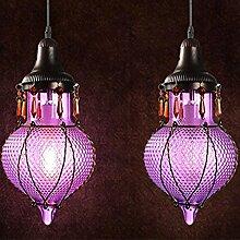 injuicy Beleuchtung mancoffee Retro Südostasien Böhmen farbig Glas Kristall E27LED Lampen-Decke Anhänger für Kaffee Bar Shop, violett, Size(Dia.*H): 200mm*300mm 40.00 watts