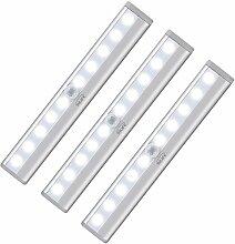 InLife 3 Stück LED Schrankbeleuchtung, 10 LED Nachtlicht mit Fernbedienung, Kabinett Nachtlicht, Licht für Schlafzimmer, Küche, Gang, Schubfach, usw. (3 PCS weiß)