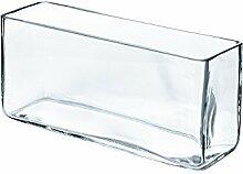INNA Glas - Quaderförmige Vase / Snack Schale JACK aus Glas, klar, 40 x 12 x 18 cm - Pflanzschale / Kerzenschale