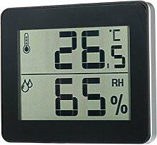 Innen Digital Thermometer Hygrometer Mini LCD Bildschirm Temperatur-Feuchtigkeitsmesser-Monitor Für Home Schlafzimmer Wohnzimmer Büro Batterien Nicht Enthalten (Schwarz)