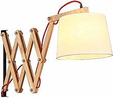 Innen Wandlampen Holz Stoff Lampenschirm Wandlampe