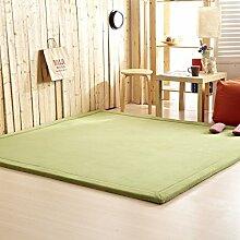 Innenteppich 2CM Thick Coral Fleece Matte Teppich 180 * 200 * 2CM Teetisch Manuell Schlafzimmer Teppich Rechteck Wohnzimmer Teppich Decke ( Farbe : Grün , größe : 120*200cm )
