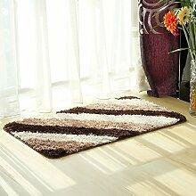 Innenteppich Anti-Rutsch-Microfaser Bad Teppich Matte Super Soft für Badezimmer Schlafzimmer Küche Supersoft Decke ( Farbe : Braun , größe : 50*80cmcm )