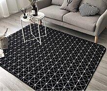 Innenteppich Moderner Wohnzimmer-Sofa-karierter Teppich, Schlafzimmer-Kopfteil-Teppich, Schwarzes, Weiß, Grau JS5006 Decke ( Farbe : 1# , größe : 150*195cm )