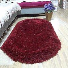 Innenteppich Ovaler Teppich, super weich gepolsterte Stretch Seide Teppich Schlafzimmer Nachtmatte Erker Fenster Teppich Decke ( Farbe : D , größe : 80*160cm )