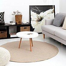 Innenteppich Runde Teppich, Baumwolle handgewebte Computer Stuhl Fußmatten Wohnzimmer Schlafzimmer Couchtisch Runde Teppich Decke ( Farbe : B , größe : ROUND-100cm )